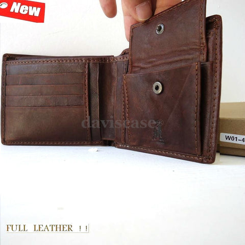 Men Money Clip hold Genuine Leather wallet Bag Coins Removable cover 10 ID CARD