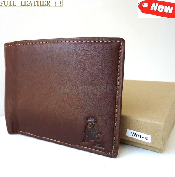 Men Money Genuine Leather wallet Bag Trifold Grain Billfold Zipped Coin id ITALY