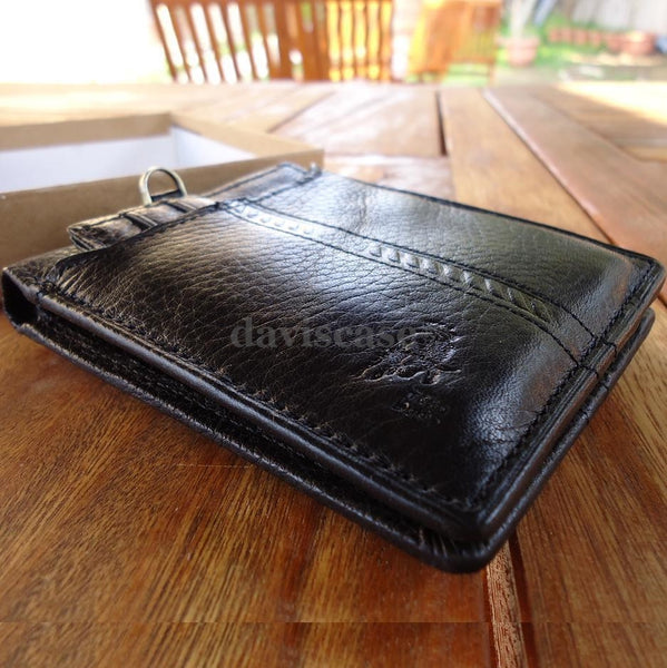 Men Money Genuine Leather wallet Grain skin Design Removable black Quality new 3