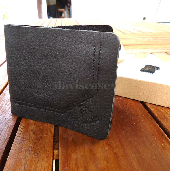 Genuine real leather man black wallet bag Coin Purse bifold Credit Card JEANS ID