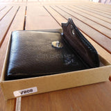 Men Money Clip retro Genuine full Leather wallet Bag Slim Trifold Grain Tough R