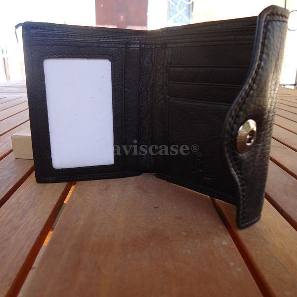 Men Money Clip BLACK Genuine REAL Leather Check wallet Bag Slim Trifold Clutch