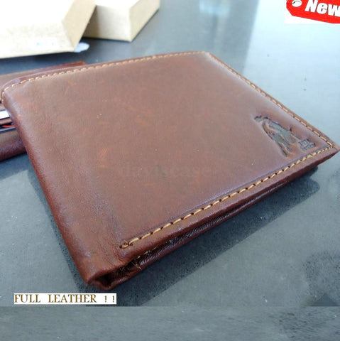 Men Money Clip hold Genuine Leather wallet Bag Coins Removable 2+1 ID CARD NEW 9