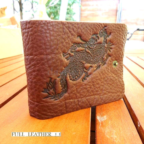 Genuine leather mans money wallet brown card case Purse CreditCard bag dragon id