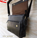 best TOP Leather Bag Messenger iPad vintage Genuine laptop classic handbag 15 16