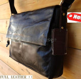 Vintage FULL genuine Leather Satchel LAPTOP TOTE man TRAVEL Bag 14 handbag 13 12