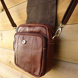 Genuine real Leather Shoulder Bag Sling Rugged Vintage BROWN Cowhide small man s