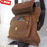 Genuine real Leather Bag Messenger Notebook handbag man woman retro 10 9 ebook R