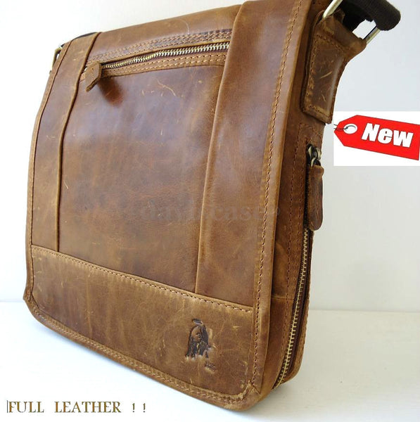 Genuine italy Leather man RETRO Style Shoulder Messenger bag best classic TOP