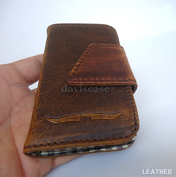 genuine vintage leather case for iphone 4s 4 cover book wallet Magnet Closes new