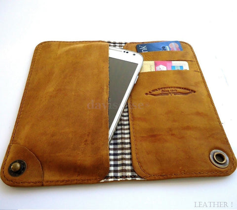 genuine leather Case For Samsung Galaxy Note III 2 3 book wallet handmade brown id NEW