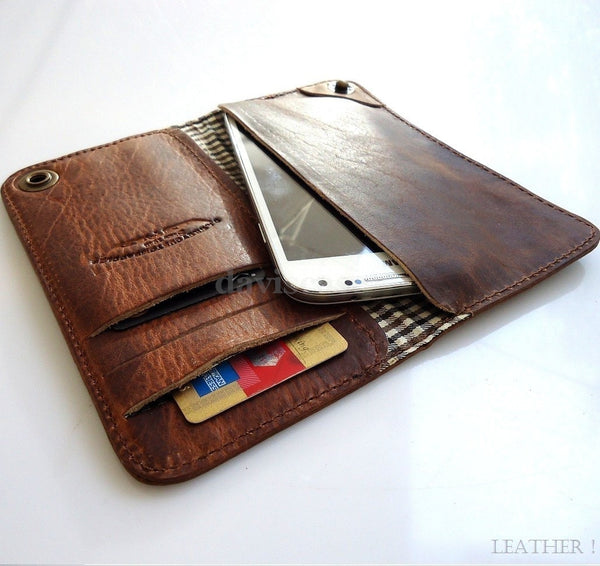 genuine leather Case For Samsung Galaxy Note II 2 3 book wallet handmade brown id