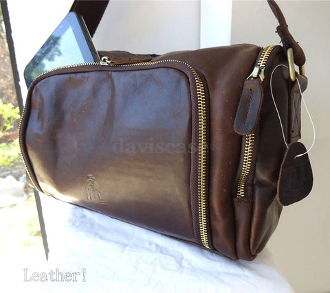 Genuine natural Leather Bag Messenger iPad handbag man retro 3 ebook 10 mini new
