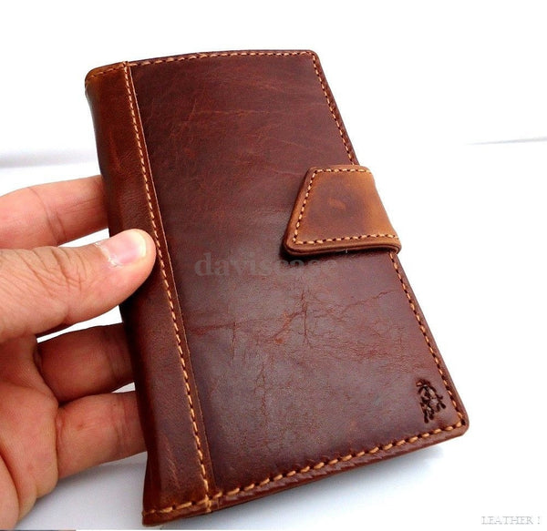 genuine leather Case for Samsung Galaxy Note II 2 book wallet handmade slim R ID