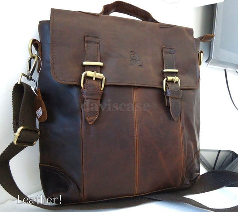 best top Leather Bag Messenger iPad vintage Genuine Brown 10 11 laptop classic