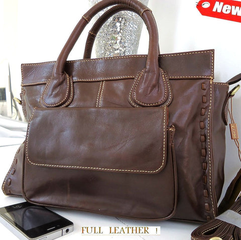 Genuine real soft leather woman bag brown purse Vintage tote lady retro vintage