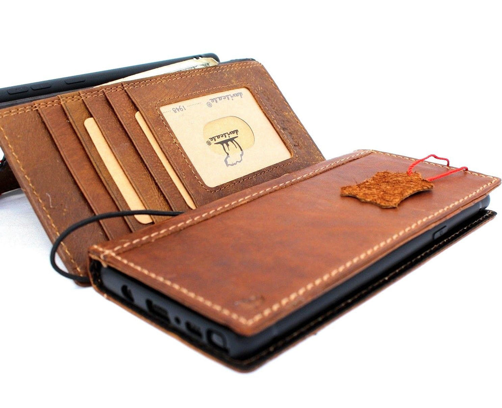 size 40 90cd5 96484 Genuine vintage leather Case for Samsung Galaxy note 9 book wallet elastic  strap cover cards Jafo slots Tan daviscase