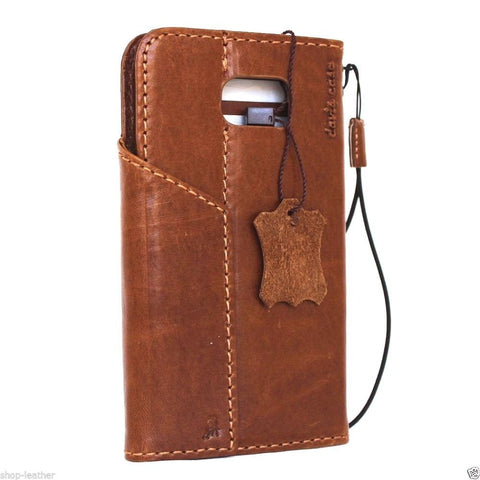 Genuine vintage Leather Case for Samsung Galaxy S6 Edge Plus Book Wallet magnet cover Handmade Retro light brown thin Luxury Art daviscase