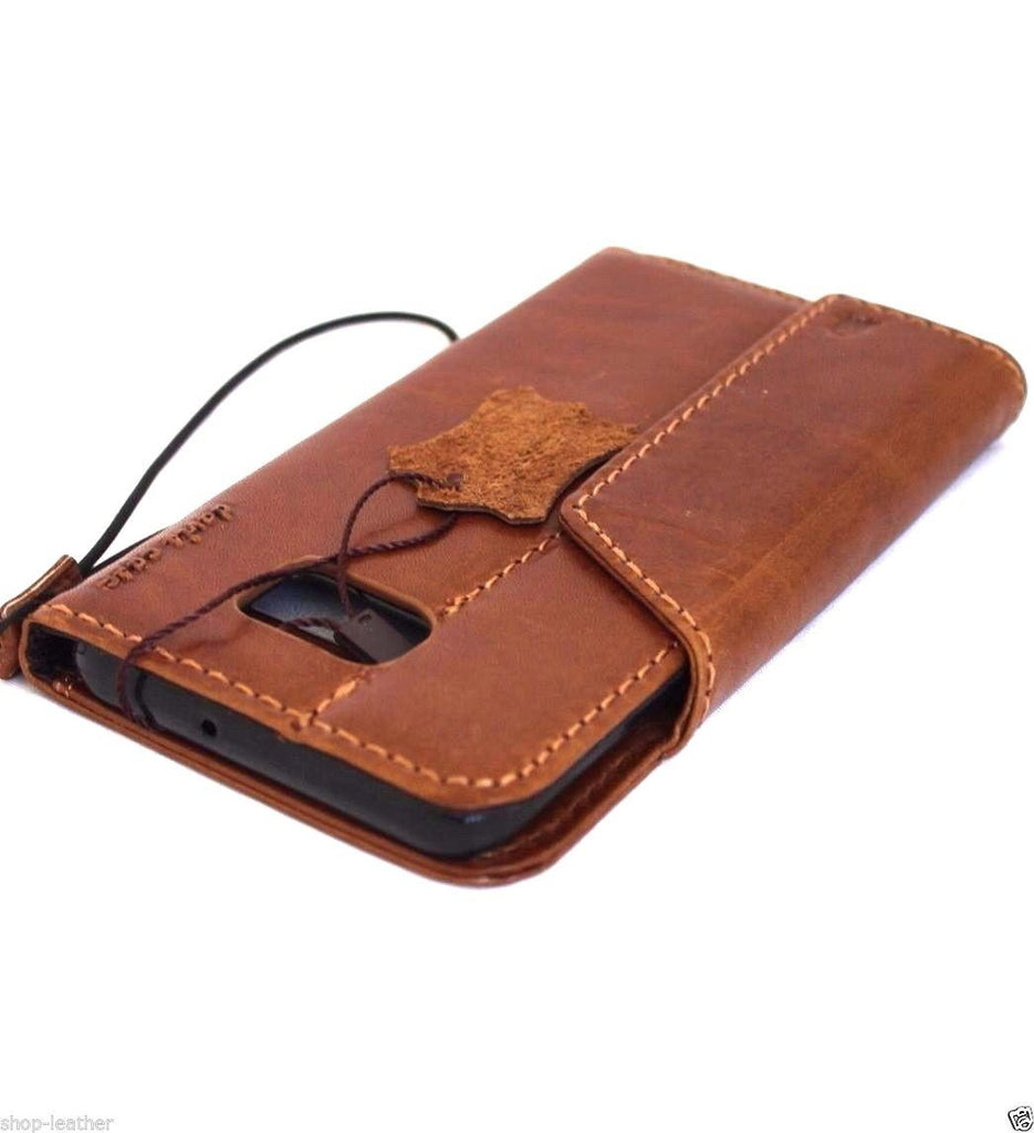 new arrival 9529b d75ec Genuine vintage Leather Case for Samsung Galaxy S6 Edge Plus Book Wallet  magnet cover Handmade Retro light brown thin Luxury Art daviscase