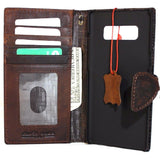 Genuine italian leather case for samsung galaxy note 8 book wallet magnetic closure cover stand cards slots Dark leather slim jafo 48