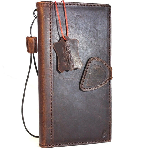 Genuine vintage leather case for samsung galaxy note 8 book wallet magnetic closure cover stand cards slots Dark brown slim daviscase
