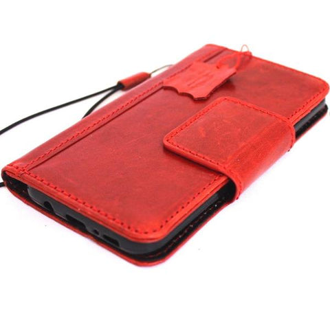 Genuine retro leather case for samsung galaxy note 9 book wallet magnetic closure red wine cover daviscase design cards slots slim