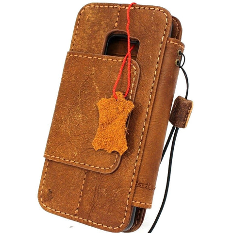 Genuine leather Case for Samsung Galaxy S9 book wallet cover  Cards Removable detachablebbslots id window vintage Tan brown slim daviscase