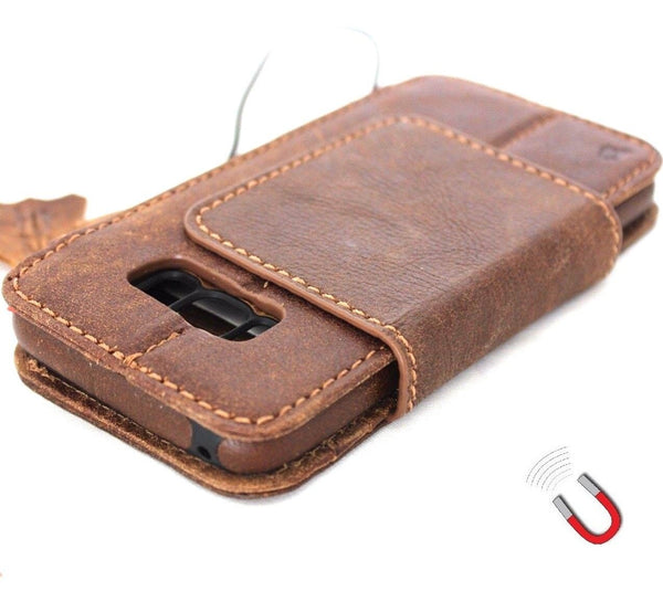 Genuine handmade Case for Samsung Galaxy S8 Plus book wallet cover Cards Removable detachable card slots window retro brown slim jafo 48