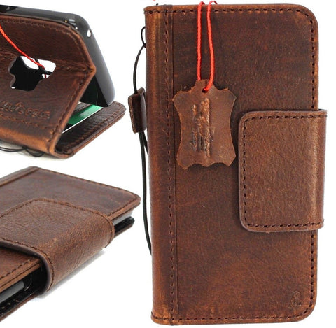 Genuine vintage leather Case for Samsung Galaxy S9 Plus book wallet magnetic closure cover cards slots brown strap daviscase