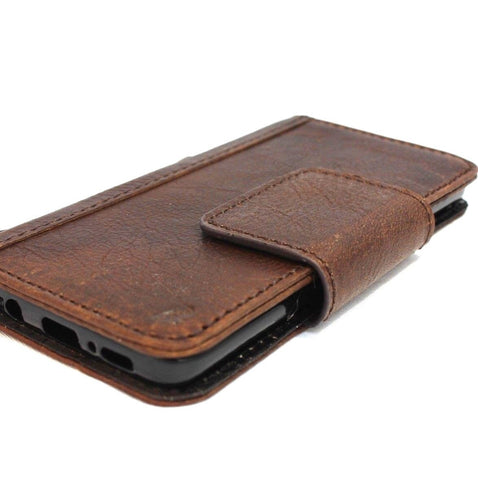 Genuine italian leather Case for Samsung Galaxy S9 book Jafo wallet handmade oiled magnetic cover s Businesse daviscase Dark