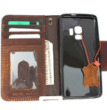 Genuine high quality natural leather Case for Samsung Galaxy S9 book Jafo design wallet handmade oiled magnetic Closure Businesse daviscase Dark