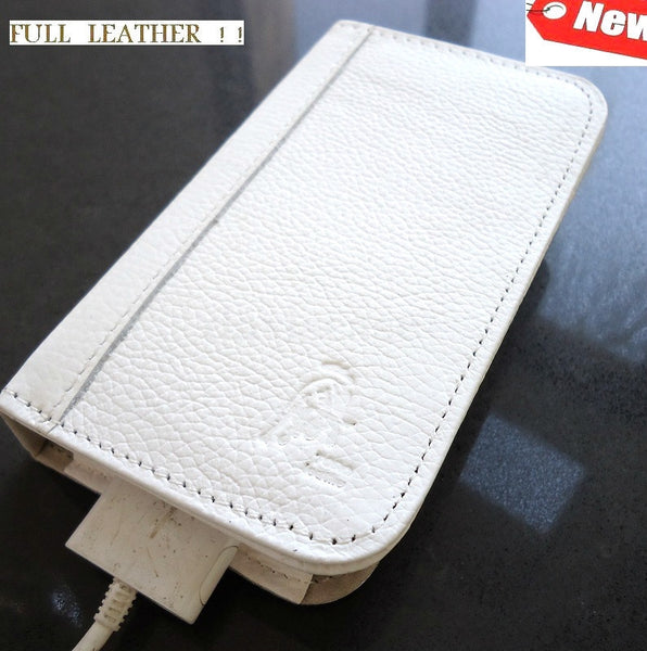 genuine real leather case fit iphone 4s cover s 4 book wallet 3 card WHITE 3s 3g