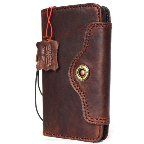 Genuine Leather Case for iPhone XS book wallet closure cover Cards slots Slim vintage bright brown Daviscase  wireless charging