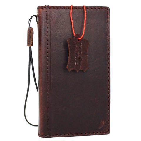 Genuine Dark Vintage leather iPhone 7 case cover wallet credit holder book luxury Davis