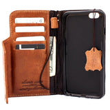 Genuine Tan Leather iPhone 8 Plus Case Cover wallet Credit Holder Book Magnetic Closure luxury Davis