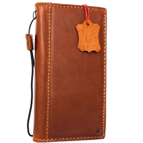Genuine Full leather iPhone 8 Plus Case Cover Wallet Credit Cards Holder Book Luxury Slim Tan Top Grain DavisCase