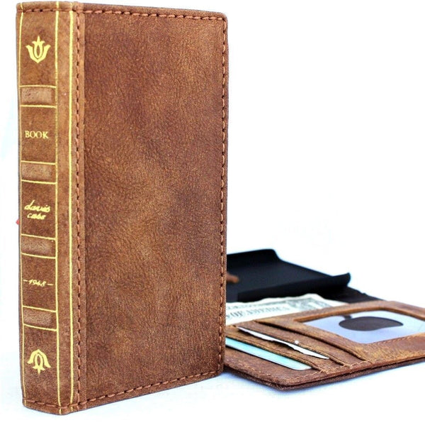 Genuine leather case for iPhone 8 plus bible book wallet cover credit holder slots luxury vintage bright brown slim Jafo 1948