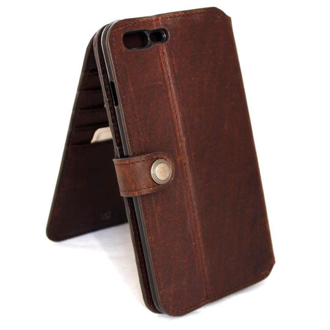 Genuine full leather case for iPhone 7 book wallet closure cover 10 credit holder cards slots luxury brown Rfid Pay daviscase