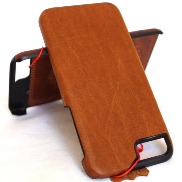 Genuine REAL natural leather iPhone 8 case cover wallet slim holder book luxury retro Classic