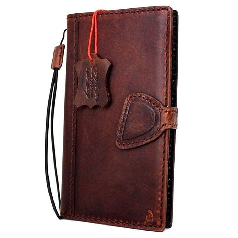 Genuine Leather Case for iPhone XS book wallet magnet closure cover Cards slots Slim vintage brown Daviscase D