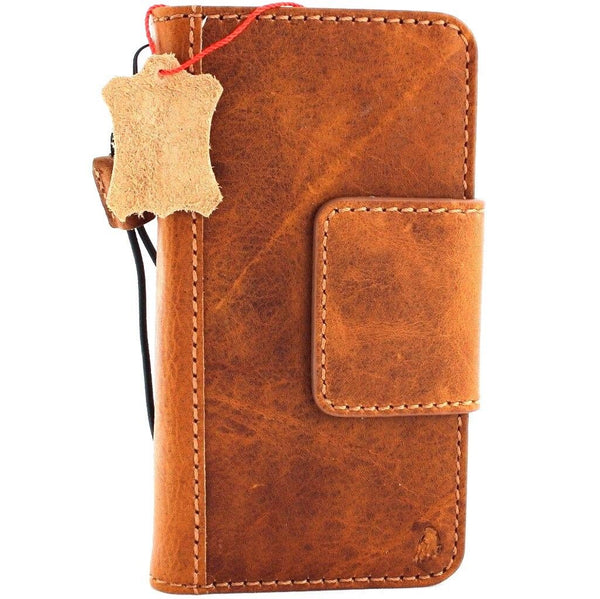 Genuine Leather Case for iPhone XS book wallet magnetic closure cover Cards slots holder Slim vintage bright brown Daviscase