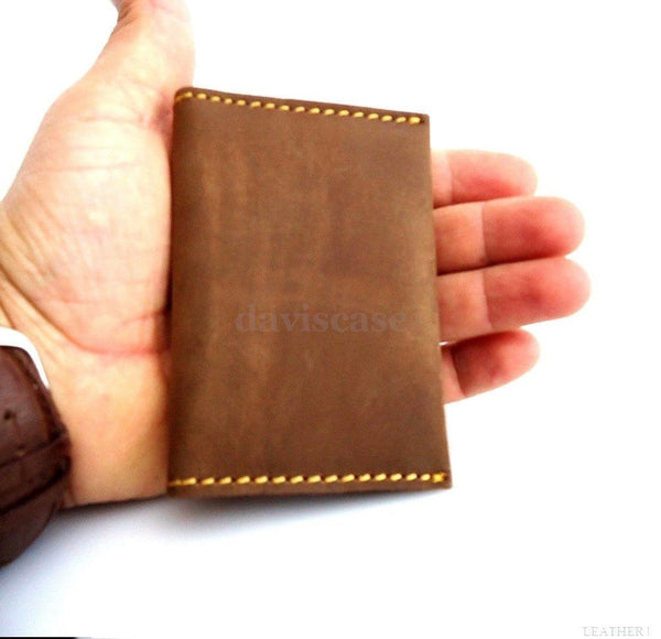Genuine Leather man mini wallet Money credit cards pocket small s handmade ru