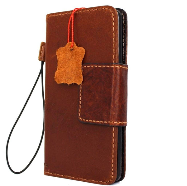 genuine vintage leather Case for LG V10 book wallet magnet cover light brown cards slots slim daviscase