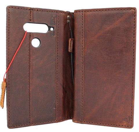 Genuine natural leather Case for LG V40 book wallet cover slim dark cards slots premium handmade jafo 48