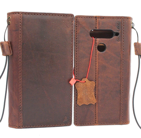 Genuine vintage leather Case for LG V40 book wallet cover slim brown cards slots handmade luxury daviscase