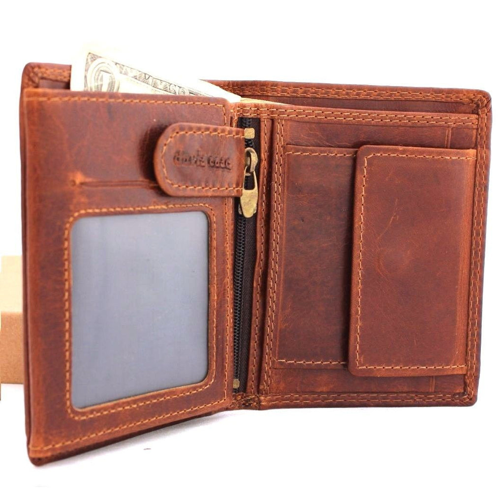 genuine vintage full leather wallet for men 6 credit card slots 3 id