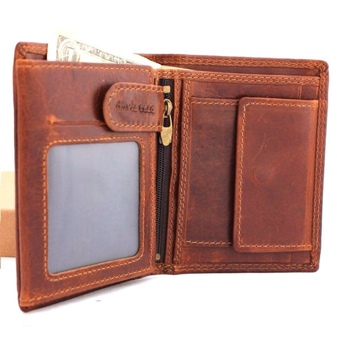 GENUINE VINTAGE full Leather wallet for Men 6 credit card slots 3 id windows Trifold RFID handmade light brown slim daviscase