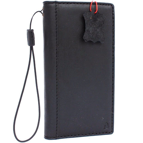 Genuine vintage leather case for samsung galaxy note 8 book wallet cover cards slots black slim daviscase