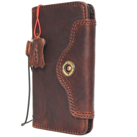 Genuine vintage leather case for samsung galaxy note 8 book wallet closure cover cards slots brown slim strap daviscase 48