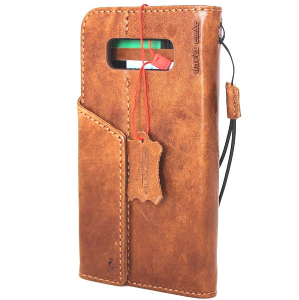Genuine vintage leather case for samsung galaxy note 8 book wallet magnetic closure cover cards slots brown slim daviscase